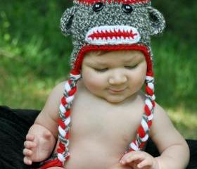 Sock Monkey Hat, Newborn Sock Monkey, Baby Sock Monkey Hat